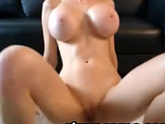 Blondie Playing with enormeous tits and pussy on webcam