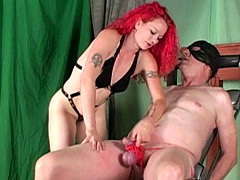 Redhead ballbusting Mistress punishes balls
