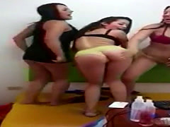 Three sluts showing pussies