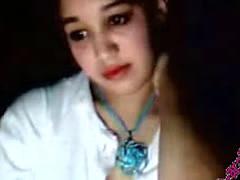 arab girl shows on a webcam