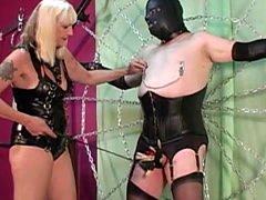 Sissy disciplined with clothespins and crop