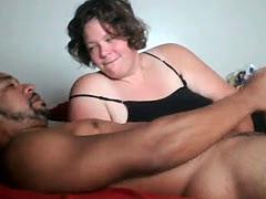 White chubby girl sucks black rod