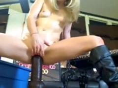 Blonde teen like it big Black Toy riding
