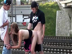 Young PUBLIC teens group street sex orgy gangbang in broad daylight