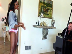 Ebony teen stepdaughter riding cock