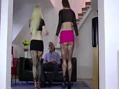 FFM threesome with sluts for older British dude