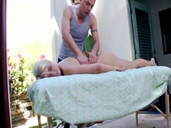 Blonde gets a rub down and a fuck