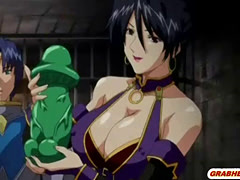 Bondage hentai with bigboobs gets shoved vibrator in her wetpussy