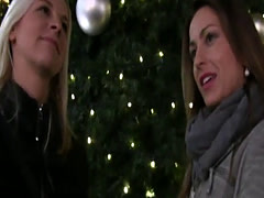 Hot christmas threesome in public