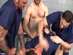 Peter gets fuck in his mouth and anal by the inmates