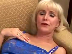 Hot Blonde Mature Sucking Cock and Fucked in White Stockings