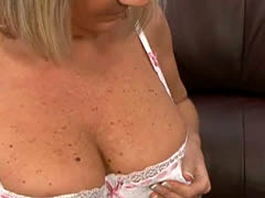 Hot Mature Blonde Dolly Masturbates on Couch