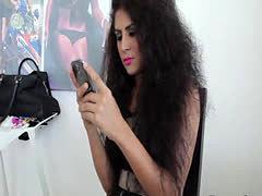 Latina ladyboy behind the scenes