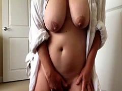 Busty BBW undressing and masturbating