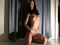 doing a split on her dildo