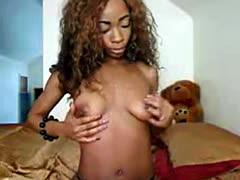 Sexy ebony babe teasing on webcam