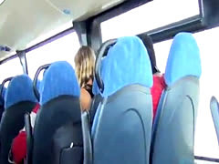 stroking huge cock on bus