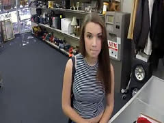 Brunette sells her shoes and gets ripped by pawn guy