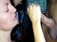 Milf sucks a dick dry after getting stuffed really hard