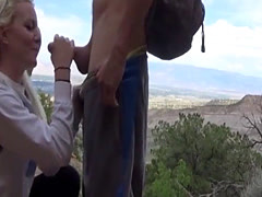 Nature hike ends with a blonde sucking a hard dick