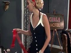 Busty lingerie lezdom licks before strapon