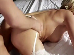Pretty Blonde moans while being banged