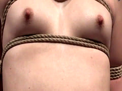 Young roped sub punished with electroplay