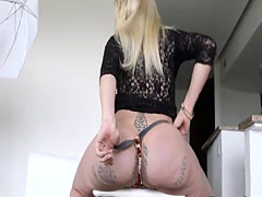 Tgirl cumming with big dildo in her ass