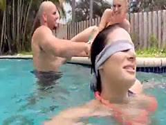 Pool game turns to foursome blowjob