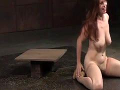 Roped heeled sub gets throated balls deep
