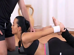 Fit brunette Ana Rose makes love with gym instructor George
