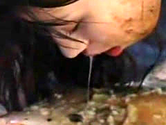 Two asian chicks puke, piss and hump each other
