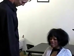 Hairy Ebony MILF with natural tits gets fucked by two white dicks