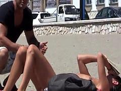 Rianna blows random hard cock in public