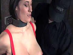 Breastbonded sub punished with vibrator