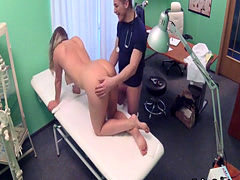 Doctor rimming big boobied babe