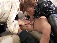 Anal fucked trio slut cleans up cum on booty