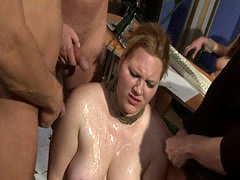 Chubby babe punished in office