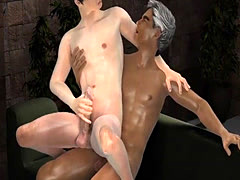 3D cartoon Asian hunk sucking on some toes before getting fucked