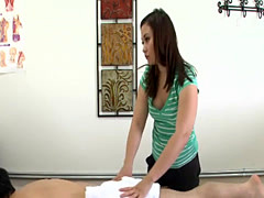 Chubby asian masseuse milks client