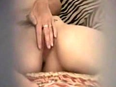 Cute tattooed girl caught fingering by a peeper