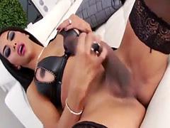 Latin TS Babe Samantha Q Strokes Her Cock