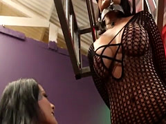 Lezdom floggs bigtit submissive and eats clit
