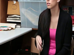Shoplifter whore Bobbi Dylan got caught and fucked by a security guard