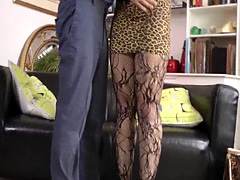 Stockings slut cummy old