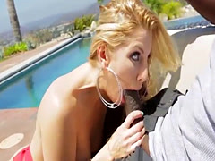 Slutty blonde chick Brittney bounces on Lexs monster cock