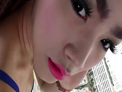 Ladyboy jizzes in mouth