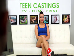 Tattooed teen fucked deeply at BDSM casting