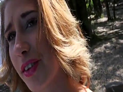 Huge boobs Euro babe bangs by the river