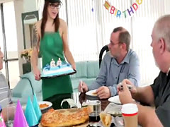 Tracy gave Roger a hot birthday deep throat blowjob